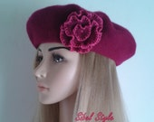 Purple French beret embellished with a flower on the side, women's fashion accessories, Christmas gift idea.