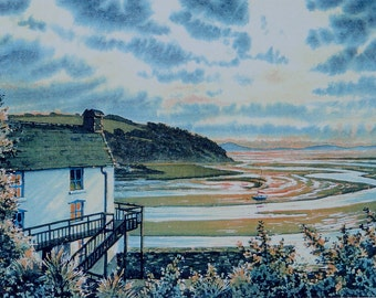 Dylan Thomas, The Boathouse. A signed and numbered print by Andrew Bailey. Writing shed, Welsh landscapes, Seascapes originals and prints.