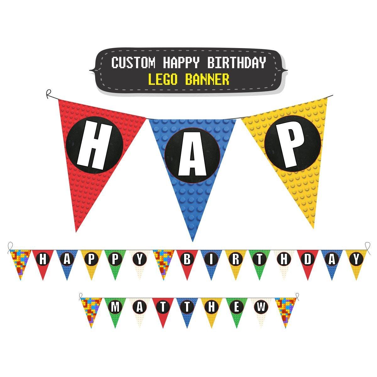 Custom Lego Birthday Party Banner Lego Happy Birthday By