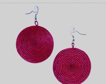 Woven Earrings- Red