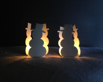 Snowman Candle Holders, Set of 2 Snowman Candle Holders, Christmas Candle Holder, Snowman Candle Holders, Christmas Decoration