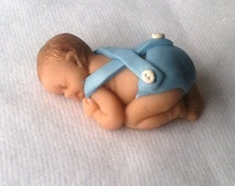 Baby Shower Cake Topper Baby Boy Keepsake Gift Polymer Clay Baby Boy with Suspenders