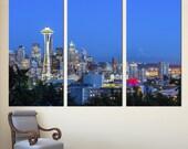 "Seattle City Skyline. 3 Panel Split Canvas Print Triptych. 1.5"" deep frames - Seattle & Mt. Rainier photography print for interior design."