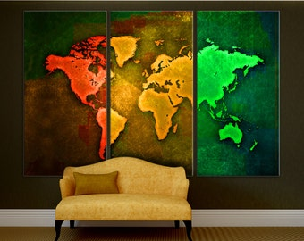 Pop Art World Map, Triptych Canvas Print, 3 Panel Split. Wall art for home or office wall decor & interior design. Red, yellow, green colors