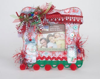 Christmas Decor Picture Frames, Shabby Chic Christmas Decor Frame, Shabby Chic Christmas Decor, Picture Frames, Christmas Frame for Kids