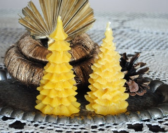 2 x Beeswax Christmas Tree Candles - Xmas, Christmas Table Centre Piece, Pure Natural, Fall - Beeswax Christmas Tree Candles