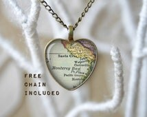 Santa Cruz heart shape vintage map necklace. Romantic gift pendant. Free matching chain is included.