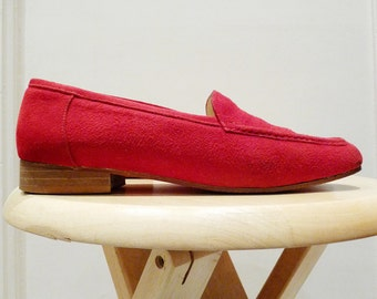 Vintage women's red suede loafers - Aged 90's - Womens Shoes Size 35 Euro