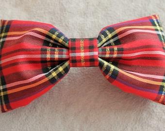 Christmas Red Plaid Hair Bow Clip