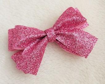 Glitter Pink Hair Bow Clip
