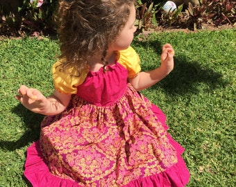 Summer Swirls Girls Handmade Peasant Dress. Sizes 6/12m, 2, 3 & 4.