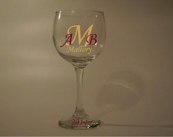 last name wine glass etsy