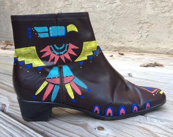 Handpainted // Native American// Thunderbird Boots// Boots// Ladies