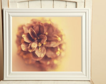 Pine cone and gold glitter, fine art photography, wall art, home decor