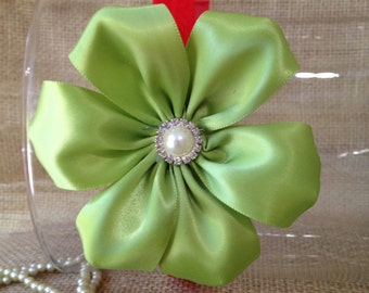Handmade green and red child baby stretchy headband.