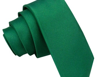 Satin Emerald Green Skinny Tie
