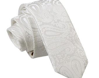 Paisley Ivory Skinny Tie