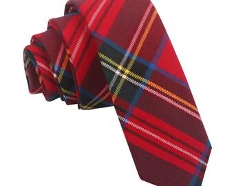 Tartan Red Royal Stewart Skinny Tie