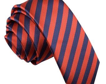 Thin Stripe Navy Blue & Red Skinny Tie