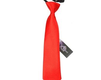 Satin Red Boy's Pre-Tied Tie