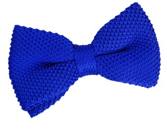 Knitted Royal Blue Bow Tie