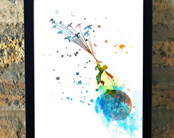 The Little Prince Le Petit Prince Water Color Print Wall Art House Warming Boys Childrens Room Decor