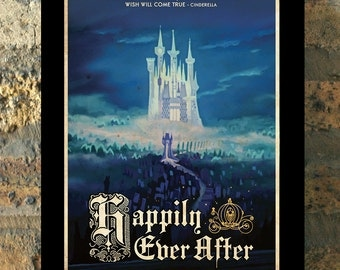 CINDERELLA Happily Ever After Travel Poster Vintage Print Wall Art House Warming Wedding Gift