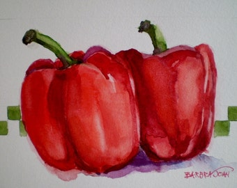 Red Pepper painting, pepper watercolor, kitchen art