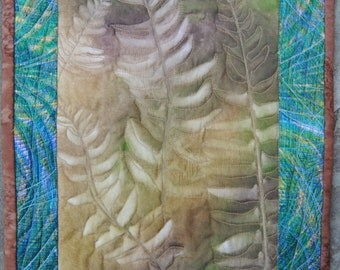 Sun Print Ferns, machine quilted