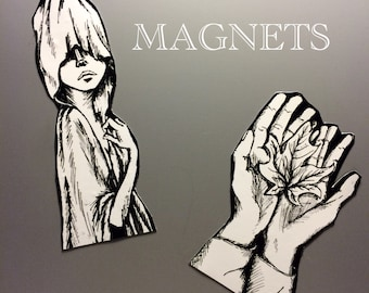Artistic Fridge Magnet Illustrations of  Artwork by A. Smith w/ free vinyl sticker!