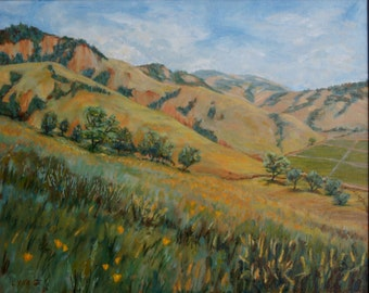 Foothills Gold, Northern California Original Impressionist Landscape Oil Painting Field Poppies