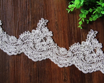 Width 5.11 inches Ivory Lace Trim, Bridal Lace, Wedding Trim, cotton embroidered lace(60-7)