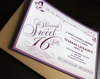 Butterfly Invitation 10/pk | Sweet 16 Invitation | Butterfly Party Invitation | Purple Invitation | Baby Girl Invitation