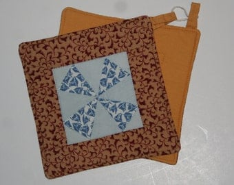 Pair of Potholders:  Windmills With 1960/1970 Fabric Bacing and Framing    Free Shipping