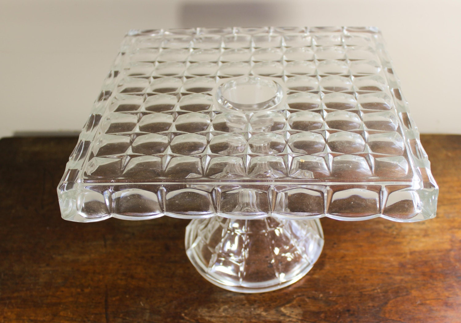 Vintage Clear Indiana Glass Constellation Square Cake Stand