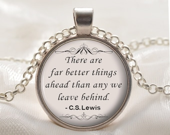 CS Lewis Quote Necklace Pendant  - Inspirational Necklace - Silver Motivational Jewelry Gift for Women and Girls