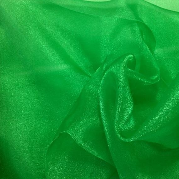Kelly Green Crystal Sheer Organza Fabric For Fashion Crafts