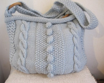 Knitting pattern for ARAN CABLE BOBBLE bag with long strap