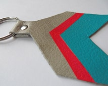 Hand-Painted Leather Keychain- Hot Pink & Turquoise Chevron