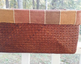Vintage Woven and Cloth Basket