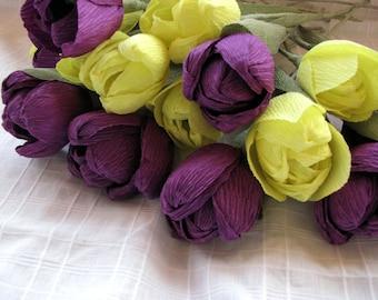 Yellow Purple Tulips/ Paper Flowers one dozen/ Crepe Paper Tulips/ Bridal bouquet/ Wedding Flowers/ Floral Arrangement/ Handmade