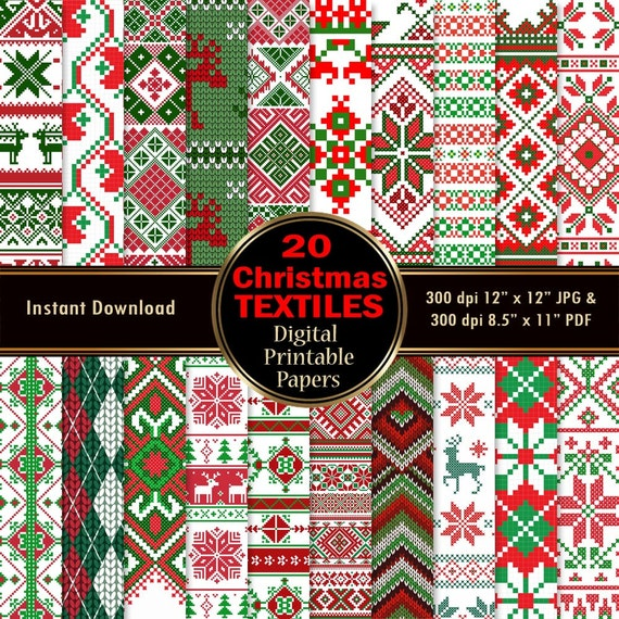 Christmas Textiles Cloth Digital Paper