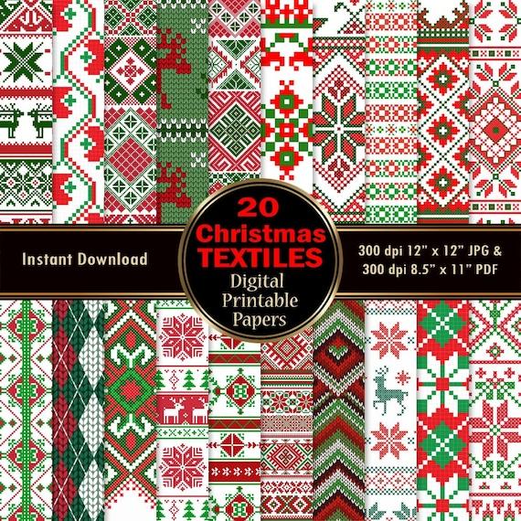 Christmas Textiles Cloth Digital Paper
