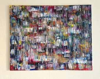Original Abstract Oil Painting on Canvas 'City Lights'