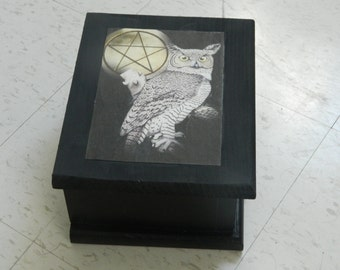 Owl with Pentacle Moon,Tarot box, Jewelry box, Witchcraft, Wicca, Wiccan Pagan