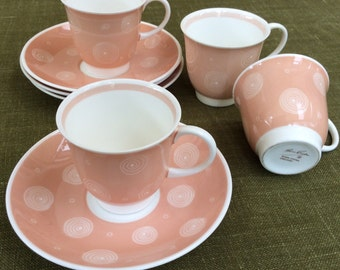 Vintage English Susie Cooper - set of 4 1950's demitasse coffee cups and saucers