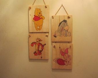 Winnie-the-Pooh 4 Character Wood Sign Set - Pooh, Eeyore, Tigger, Piglet