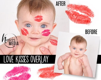 JPG and PNG Red and Pink Valentine Lipstick Love Kisses Digital Overlay for Photography - Instant Download