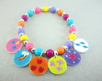 My Little Pony Cutie Mark Charm Bracelet, My Little Pony Cutie Mark Jewelry, My Little Pony Party, My Little Pony Birthday