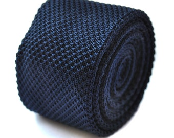 Plain navy blue knitted skinny tie by Frederick Thomas FT264